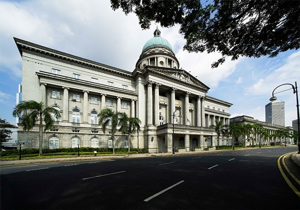 Former Supreme Court and City Hall buildings prior to the renovation works to become National Gallery Singapore.